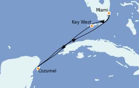 Itinéraire de la croisière Caraïbes de l'Ouest 6 jours à bord du Celebrity Summit