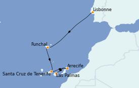 Itinéraire de la croisière Îles Canaries 9 jours à bord du Le Dumont d'Urville