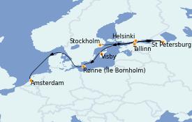 Itinéraire de la croisière Mer Baltique 13 jours à bord du MS Insignia