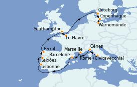 Itinéraire de la croisière Tour du Monde 2022 15 jours à bord du MSC Poesia