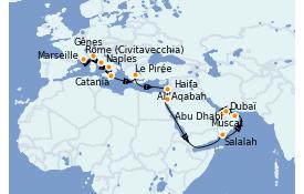 Itinéraire de la croisière Méditerranée 22 jours à bord du Costa Firenze