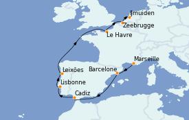 Itinerario de crucero Mediterráneo 10 días a bordo del Costa Fascinosa