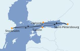 Itinéraire de la croisière Mer Baltique 8 jours à bord du Costa Fortuna