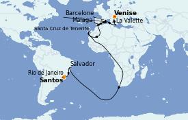 Itinéraire de la croisière Transatlantiques et Grands Voyages 2021 21 jours à bord du MSC Sinfonia