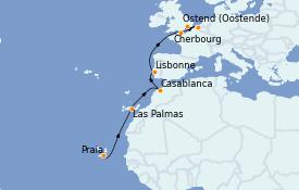 Itinéraire de la croisière Îles Canaries 13 jours à bord du Seabourn Venture