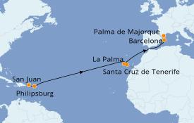 Itinéraire de la croisière Transatlantiques et Grands Voyages 2020 14 jours à bord du Vision of the Seas