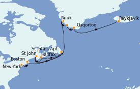 Itinéraire de la croisière Exploration polaire 15 jours à bord du MS Insignia