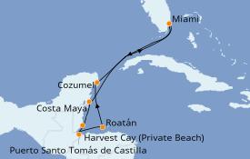 Itinéraire de la croisière Caraïbes de l'Ouest 9 jours à bord du Seven Seas Splendor