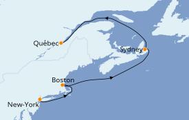 Itinéraire de la croisière Canada 8 jours à bord du Queen Mary 2