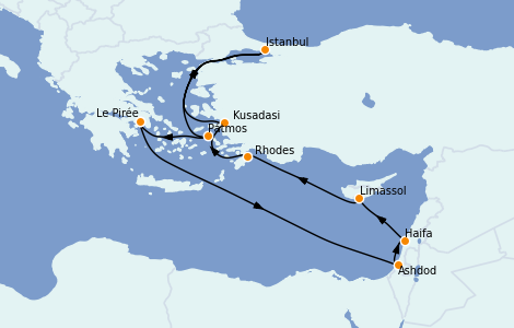 Itinéraire de la croisière Grèce & Adriatique 9 jours à bord du Norwegian Jade
