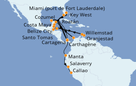 Itinéraire de la croisière Caraïbes de l'Ouest 12 jours à bord du Silver Moon