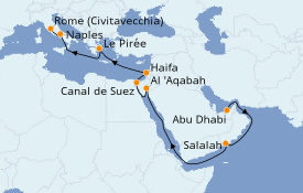 Itinéraire de la croisière Transatlantiques et Grands Voyages 2021 17 jours à bord du MSC Fantasia