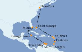 Itinéraire de la croisière Caraïbes de l'Est 17 jours à bord du Seven Seas Navigator