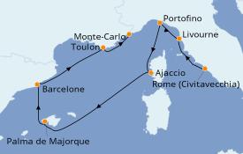 Itinéraire de la croisière Méditerranée 8 jours à bord du Seven Seas Voyager