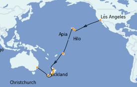 Itinéraire de la croisière Tour du Monde 2022 27 jours à bord du Island Princess
