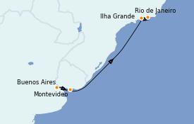 Itinéraire de la croisière Amérique du Sud 8 jours à bord du Seabourn Venture