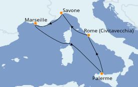 Itinéraire de la croisière Méditerranée 6 jours à bord du Costa Toscana
