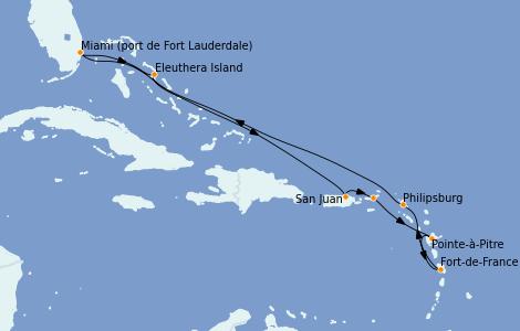 Itinéraire de la croisière Caraïbes de l'Est 10 jours à bord du Enchanted Princess