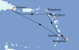 Itinéraire de la croisière Caraïbes de l'Est 8 jours à bord du Norwegian Gem