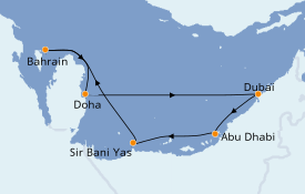 Itinéraire de la croisière Dubaï - Emirats 8 jours à bord du MSC Lirica