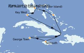 Itinéraire de la croisière Caraïbes de l'Ouest 8 jours à bord du ms Nieuw Amsterdam