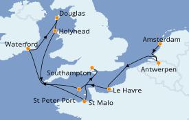 Itinéraire de la croisière Îles Britanniques 11 jours à bord du Seven Seas Voyager