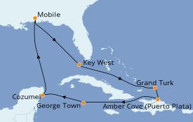 Itinéraire de la croisière Caraïbes de l'Est 11 jours à bord du Carnival Fantasy