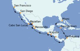 Itinéraire de la croisière Riviera Mexicaine 19 jours à bord du MS Insignia