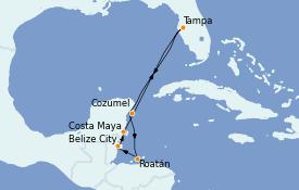 Itinéraire de la croisière Caraïbes de l'Ouest 8 jours à bord du Serenade of the Seas