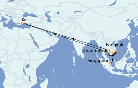 Itinerario de crucero Asia 11 días a bordo del MS Nautica