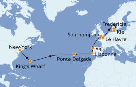 Itinéraire de la croisière Transatlantiques et Grands Voyages 2020 18 jours à bord du MSC Meraviglia