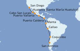 Itinéraire de la croisière Riviera Mexicaine 16 jours à bord du Celebrity Eclipse