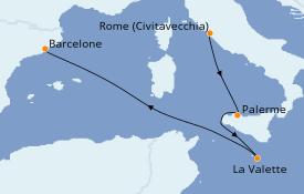 Itinéraire de la croisière Méditerranée 5 jours à bord du MSC Grandiosa