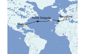 Itinéraire de la croisière Méditerranée 12 jours à bord du Norwegian Bliss
