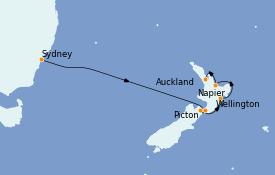 Itinéraire de la croisière Australie 2023 9 jours à bord du Grand Princess