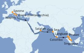 Itinéraire de la croisière Transatlantiques et Grands Voyages 2020 23 jours à bord du Costa Fortuna
