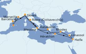 Itinéraire de la croisière Méditerranée 16 jours à bord du MSC Opera