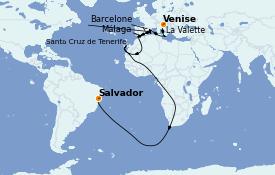 Itinéraire de la croisière Transatlantiques et Grands Voyages 2021 18 jours à bord du MSC Sinfonia