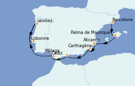 Itinéraire de la croisière Méditerranée 9 jours à bord du Celebrity Infinity
