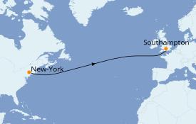 Itinéraire de la croisière Îles Britanniques 9 jours à bord du Queen Mary 2