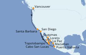 Itinéraire de la croisière Riviera Mexicaine 17 jours à bord du ms Maasdam