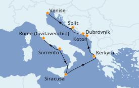 Itinéraire de la croisière Méditerranée 10 jours à bord du Silver Dawn