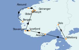 Itinéraire de la croisière Fjords & Norvège 8 jours à bord du Le Jacques Cartier