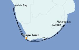 Itinéraire de la croisière Afrique 16 jours à bord du Silver Spirit