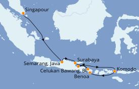 Itinéraire de la croisière Asie 11 jours à bord du Seabourn Encore