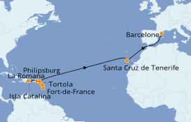 Itinéraire de la croisière Transatlantiques et Grands Voyages 2021 18 jours à bord du Costa Magica