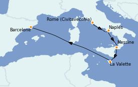 Itinéraire de la croisière Méditerranée 6 jours à bord du MSC Seashore