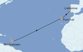 Itinéraire de la croisière Îles Canaries 12 jours à bord du Silver Spirit