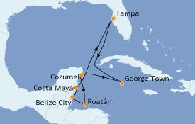 Itinéraire de la croisière Caraïbes de l'Ouest 9 jours à bord du Rhapsody of the Seas