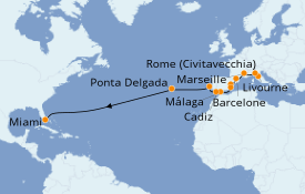 Itinéraire de la croisière Méditerranée 17 jours à bord du Norwegian Pearl